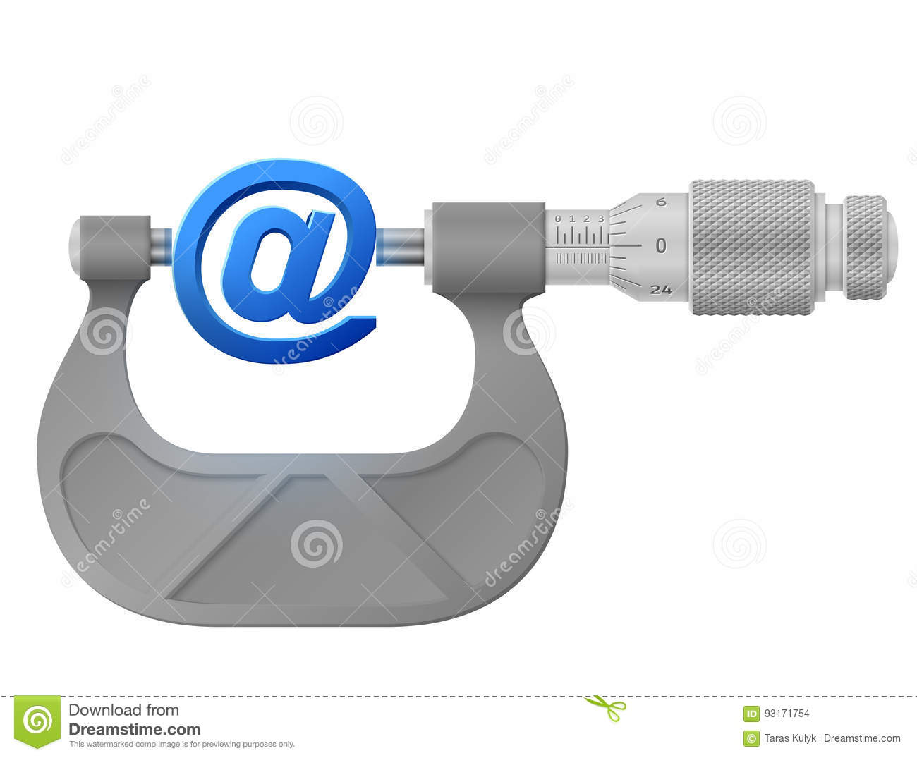 Horizontal Micrometer Measures Mail Symbol Stock Vector