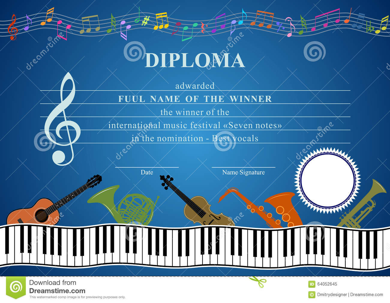horizontal musical diploma stock vector  illustration of orchestra