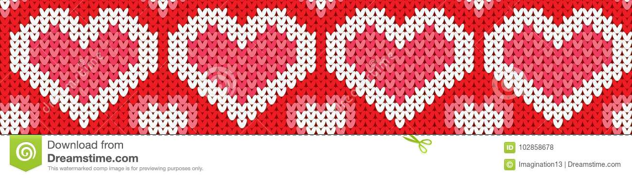 Decorations Knitted Hearts Stock Vector Illustration Of Element