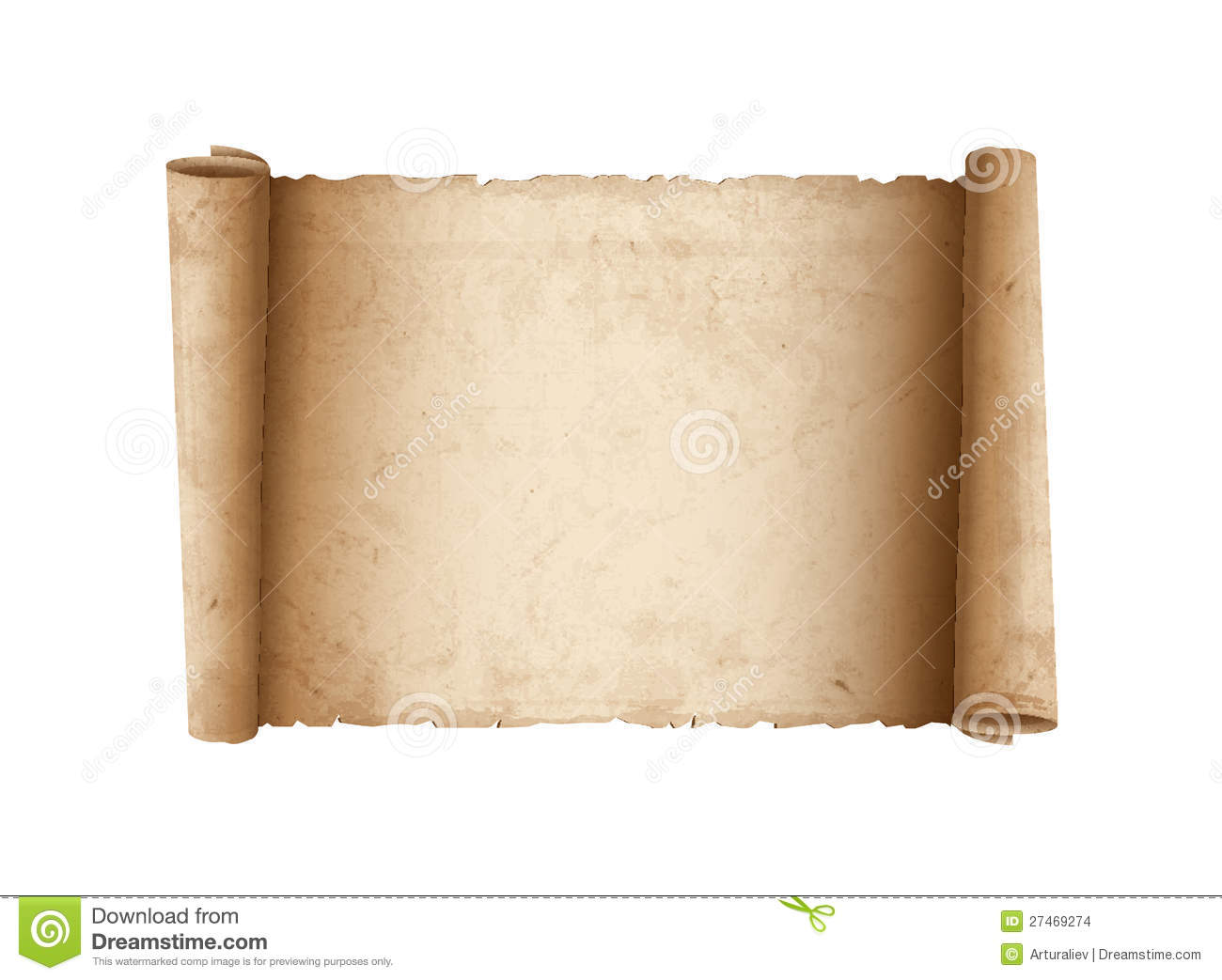Horizontal Old Scroll Paper Stock Images - Image: 27469274