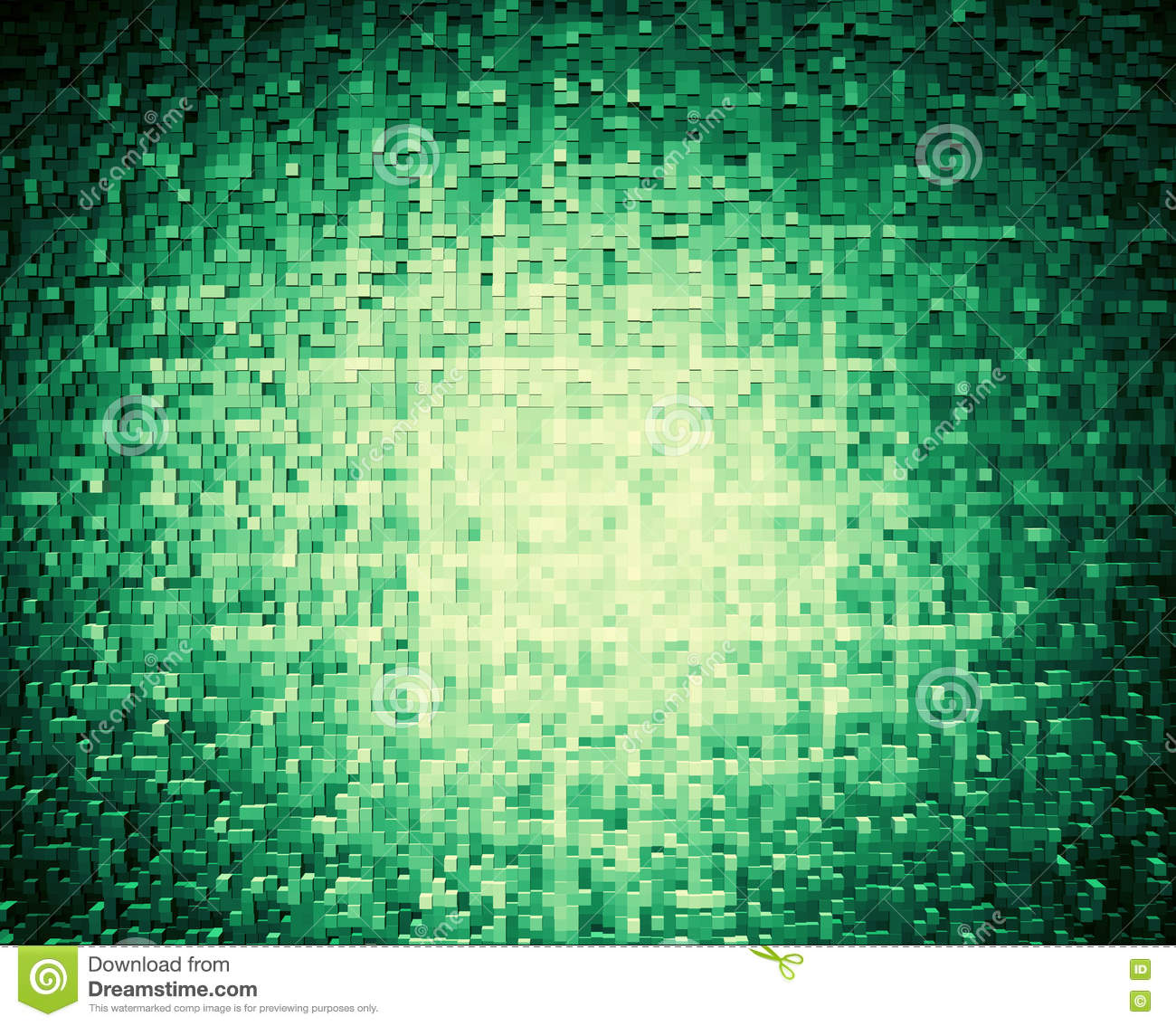 Horizontal olive green 3d cube extruded blocks abstract backgrou
