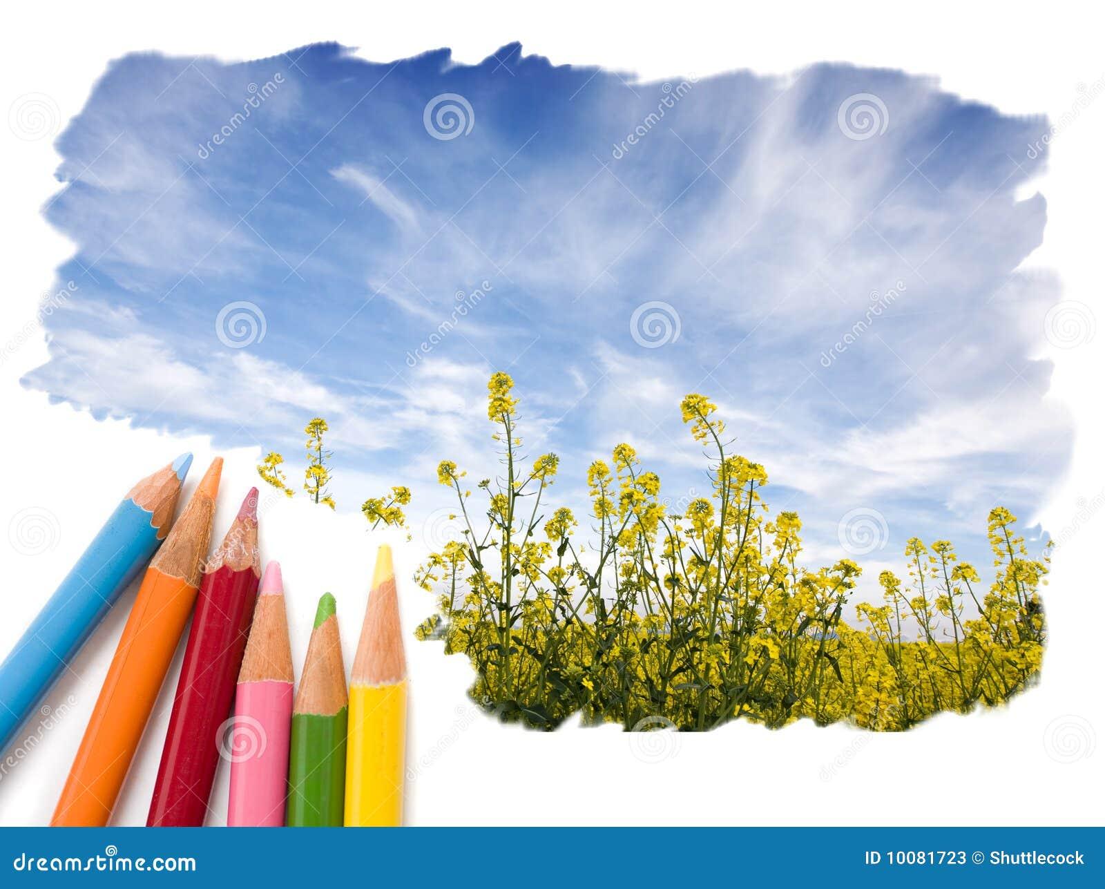 horizontal ouvert de ciel bleu de dessin au crayon de couleur image stock image du zones. Black Bedroom Furniture Sets. Home Design Ideas