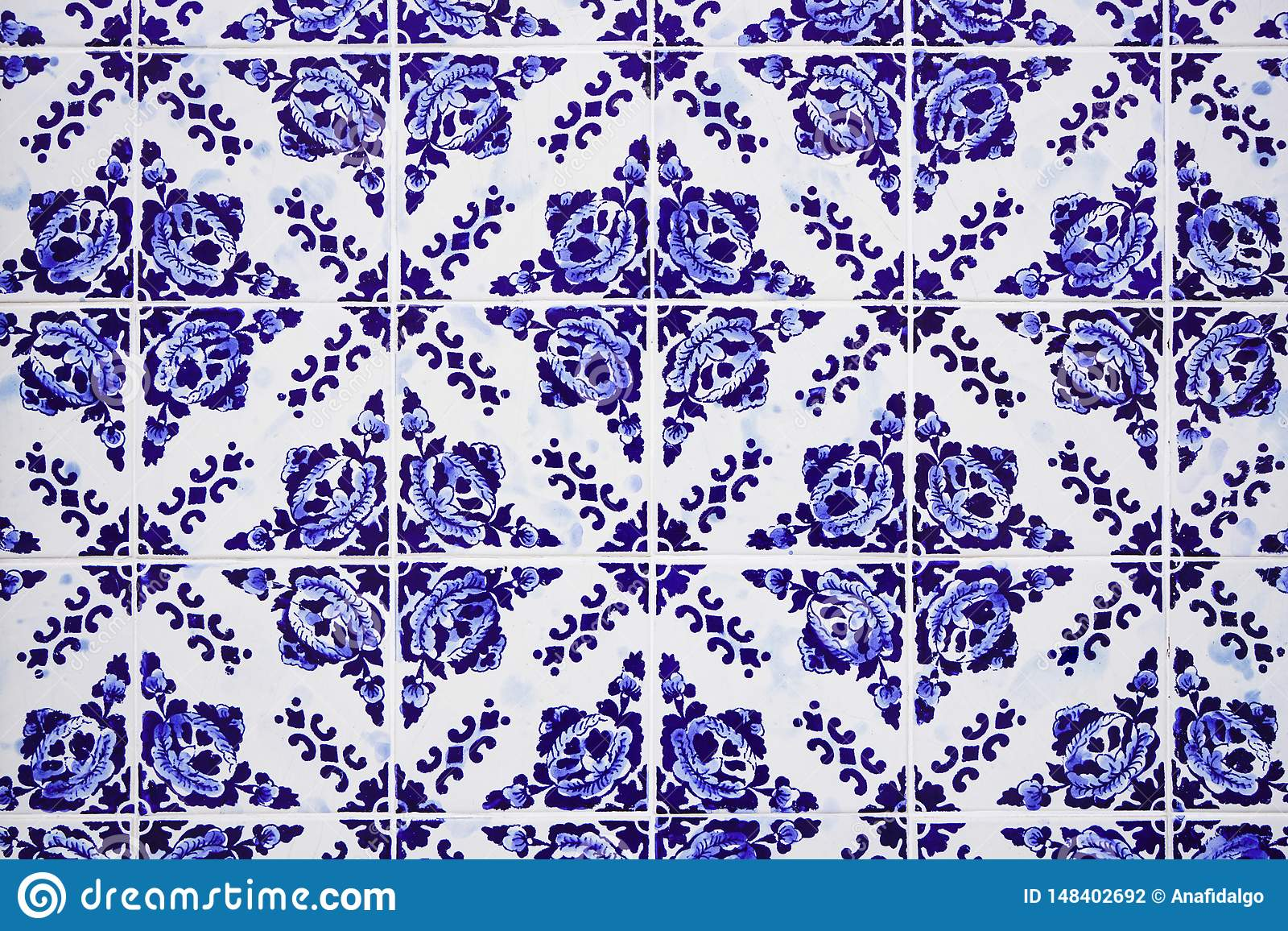 Gorgeous Traditional Portuguese Ceramic Blue Tiles with Floral ...