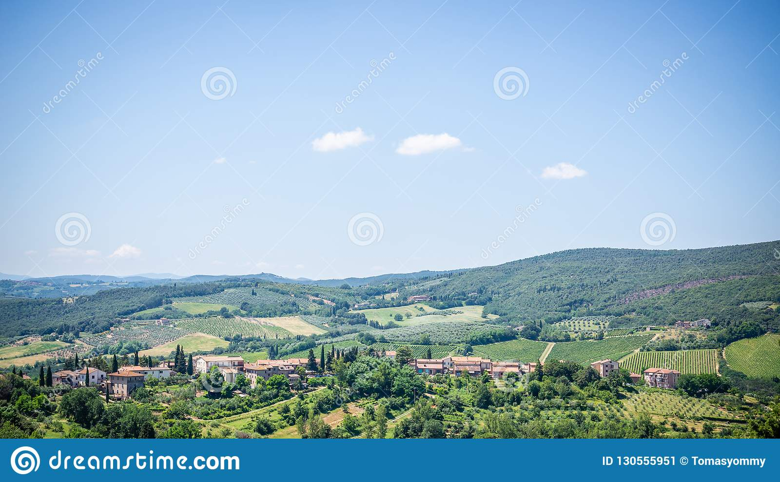 View to country near the town in Tuscany with lot of trees and buildings