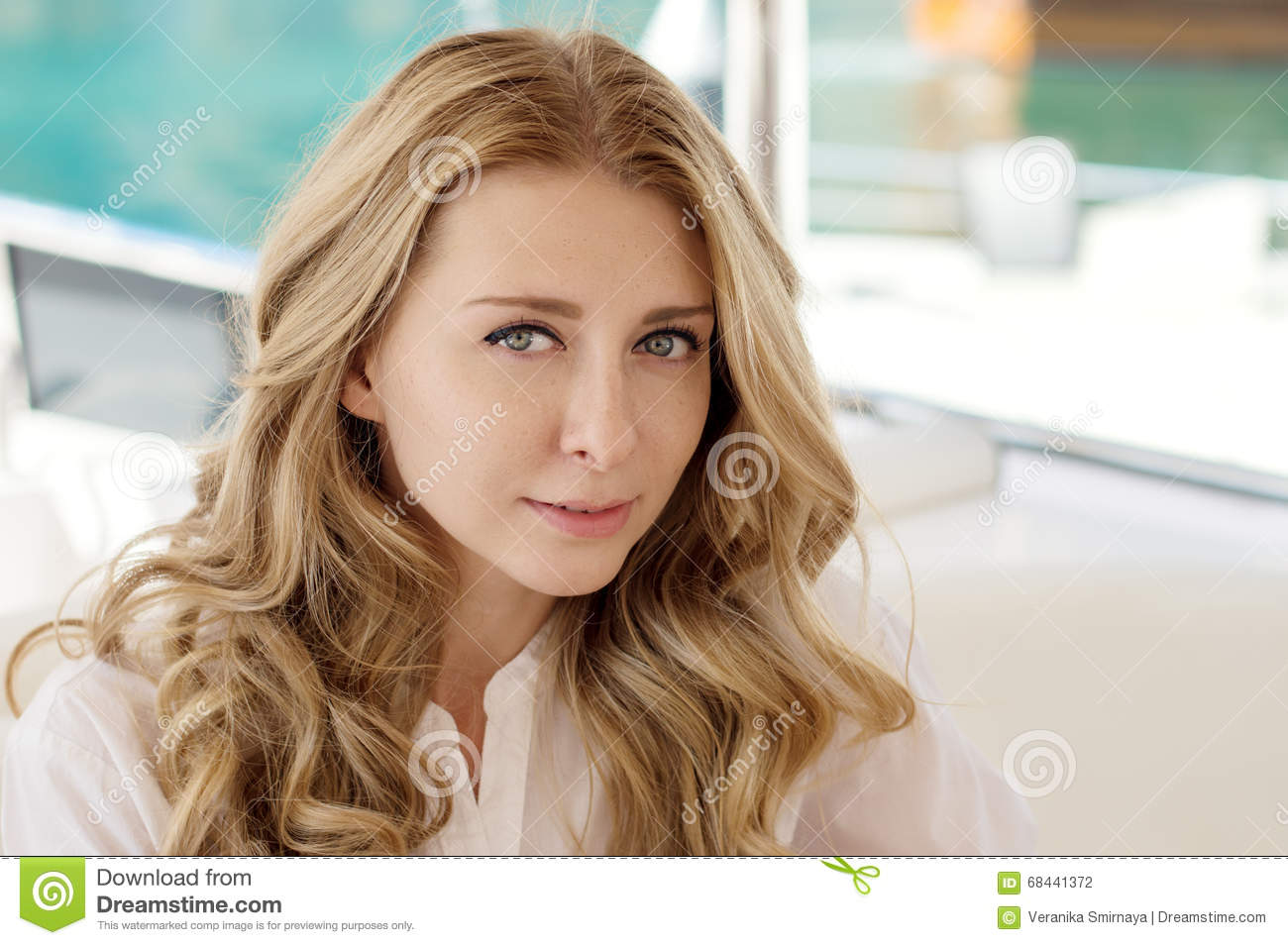 Women Blonde Blue Eyes Long Hair Wavy Hair Portrait: Horizontal Portrait Of A Young Blond Woman With Long Curly