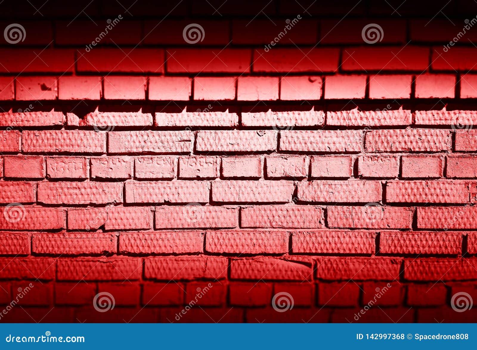 Horizontal Red Dark Brick Wall Texture Background Stock