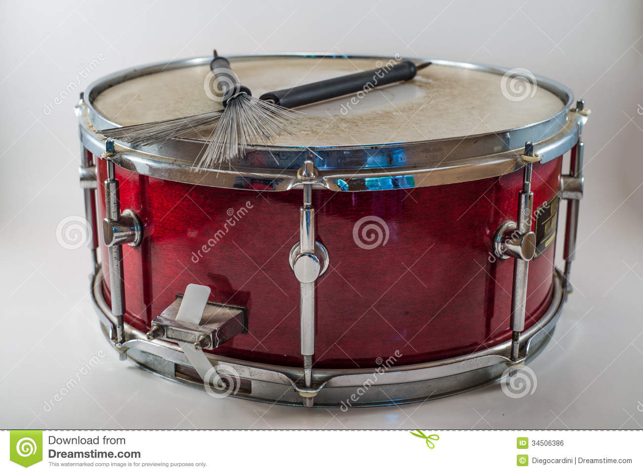 horizontal red wooden snare drum and jazz brushes isolated on a stock photo image 34506386. Black Bedroom Furniture Sets. Home Design Ideas