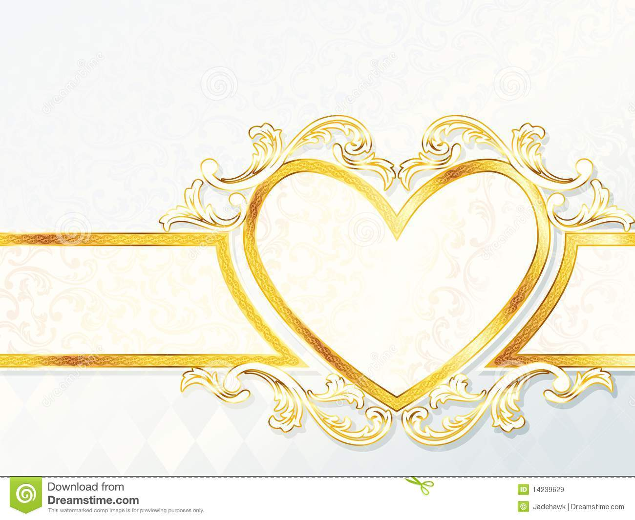horizontal rococo wedding banner with heart emblem stock vector