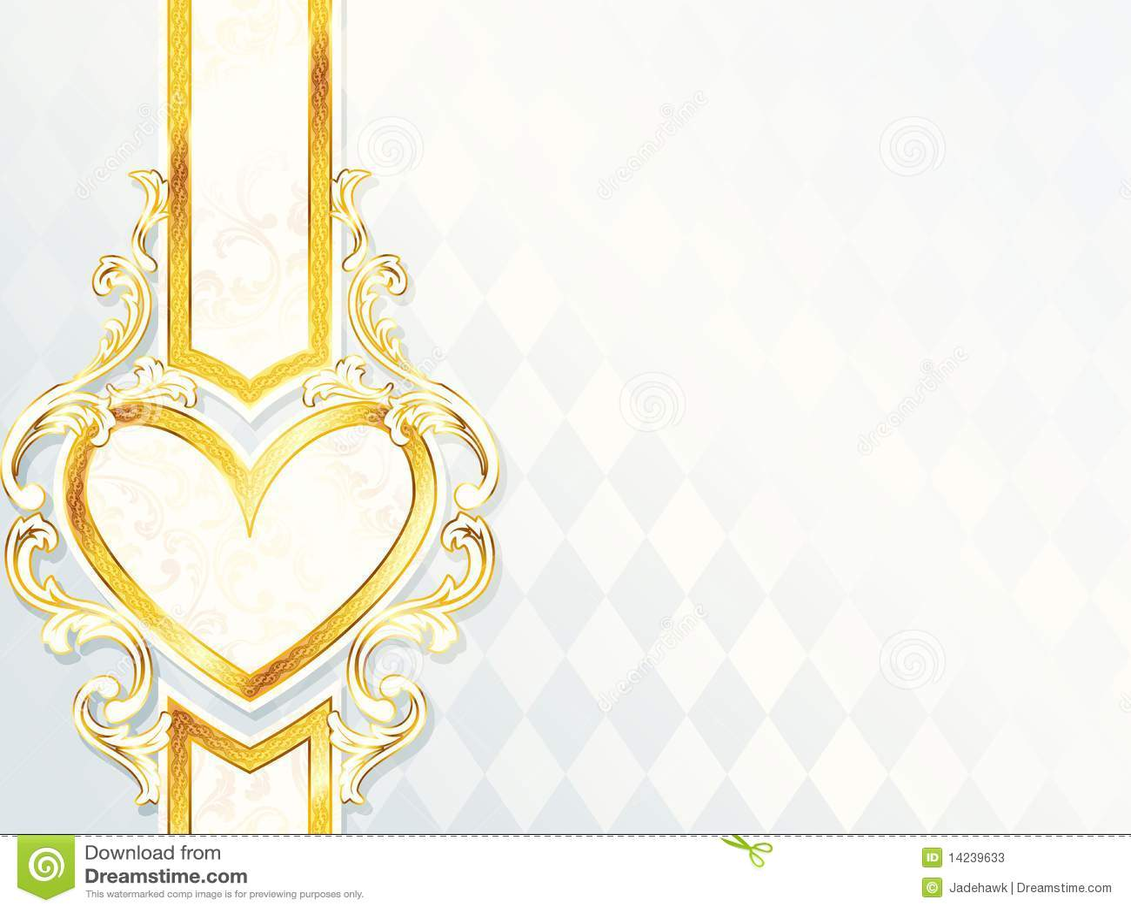 Horizontal Rococo Wedding Banner With Heart Emblem Stock Photos ...