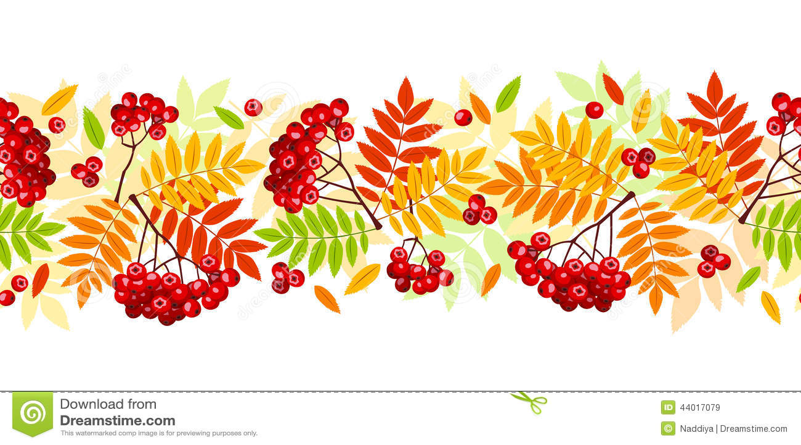 Horizontal Seamless Background With Autumn Rowan Branches