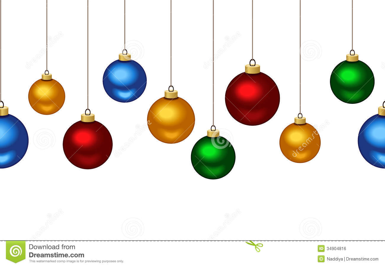 Horizontal seamless background with christmas ball stock