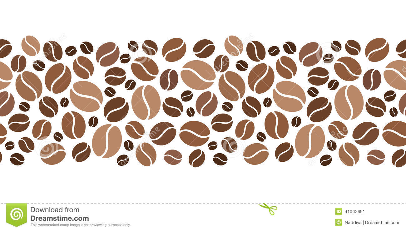 Horizontal Seamless Background With Coffee Beans. Vector