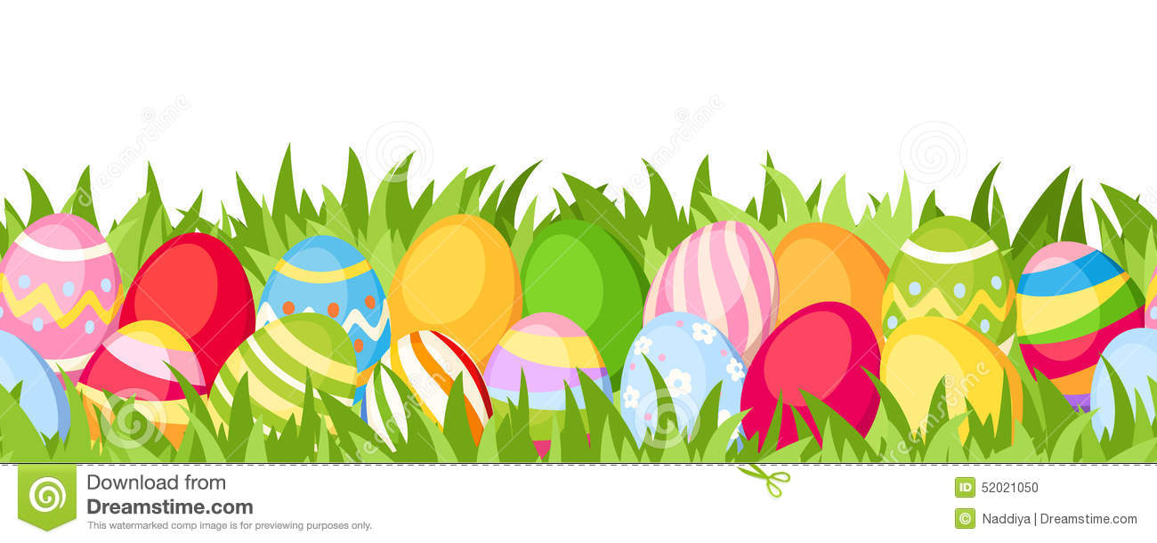 Horizontal Seamless Background With Colorful Easter Eggs
