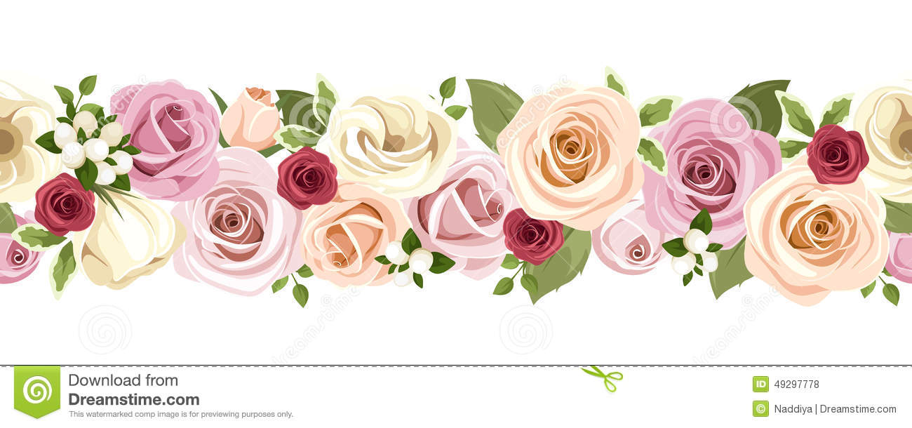 Horizontal seamless background with colorful roses and lisianthus download comp altavistaventures Choice Image