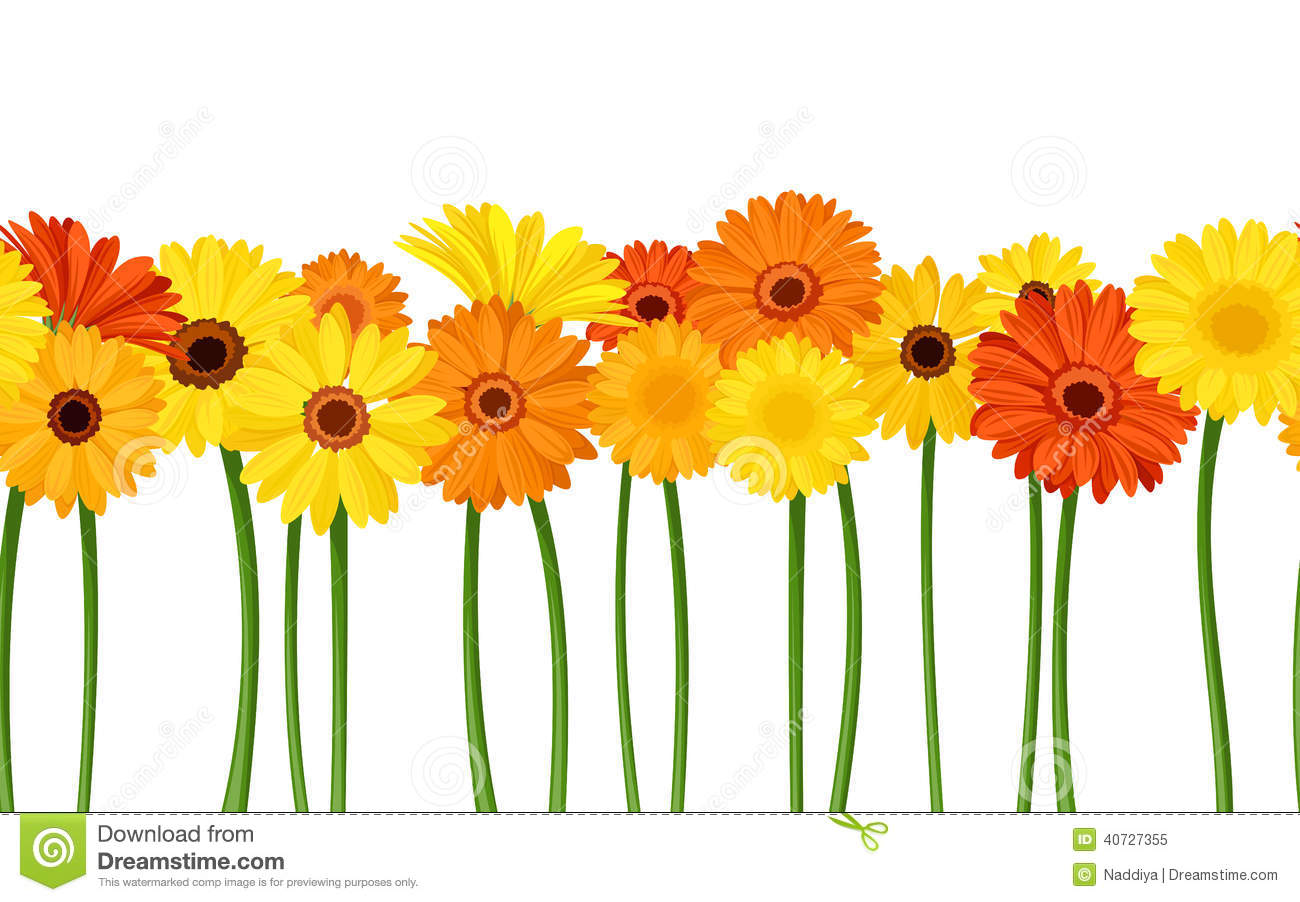 Vector horizontal seamless background with orange and yellow gerbera ...