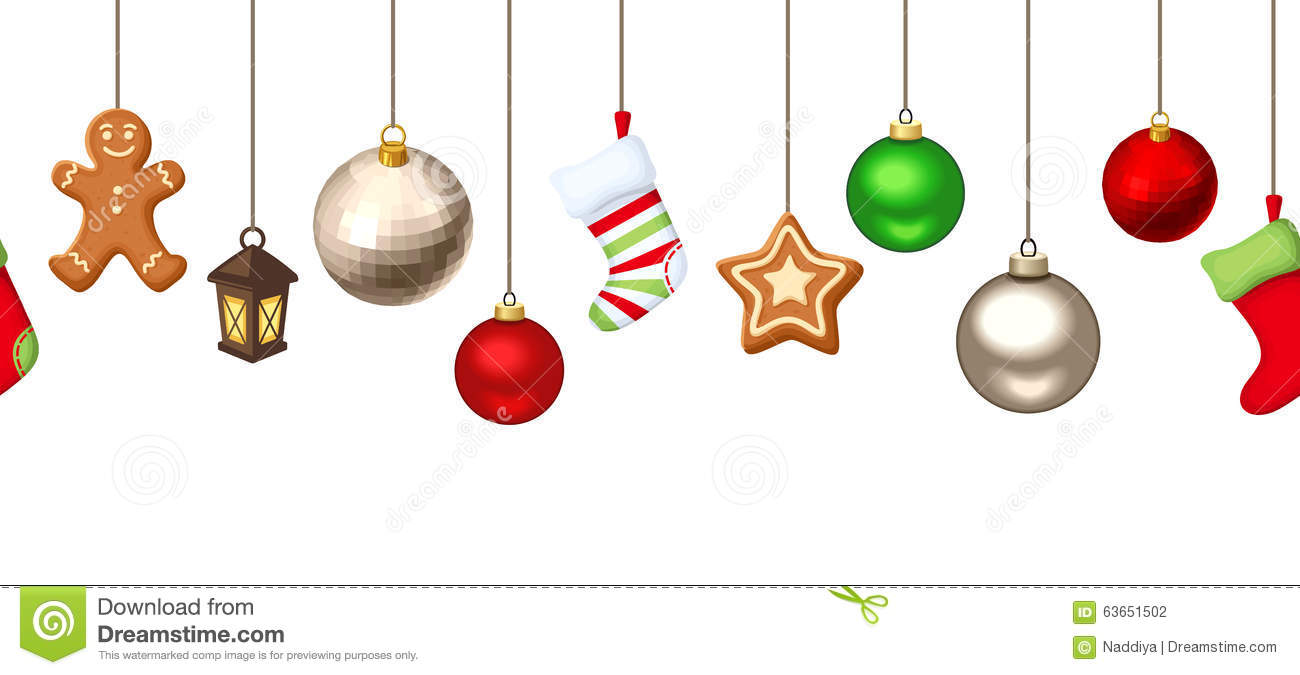 Hanging Christmas Decorations.Horizontal Seamless Background With Hanging Christmas