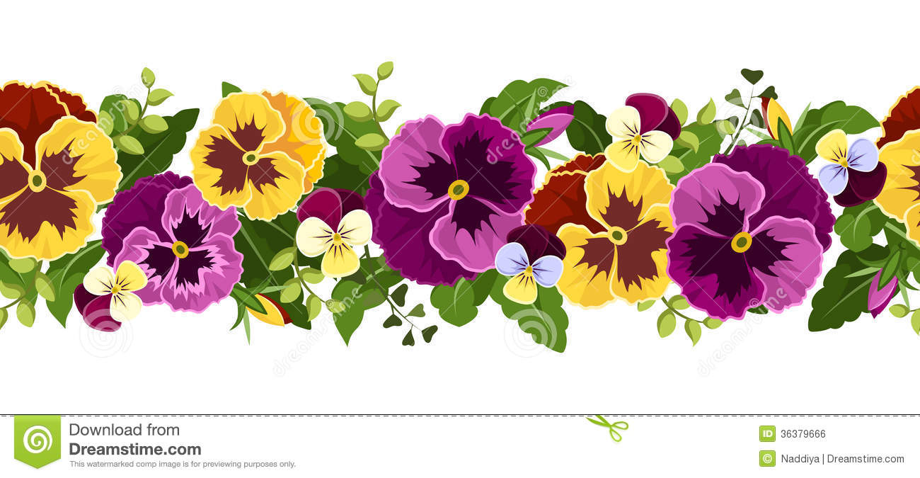 horizontal seamless background with pansy flowers royalty Flower Clip Art Flower Clip Art