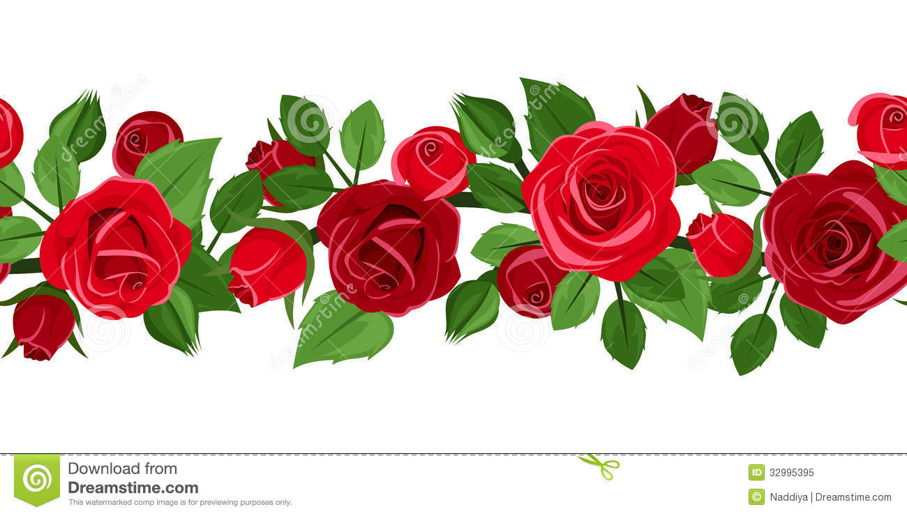 Horizontal seamless background with red roses.