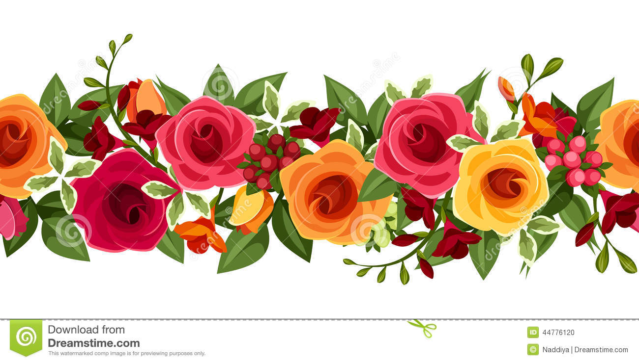 Horizontal seamless background with red and yellow roses and freesia vector illustration stock