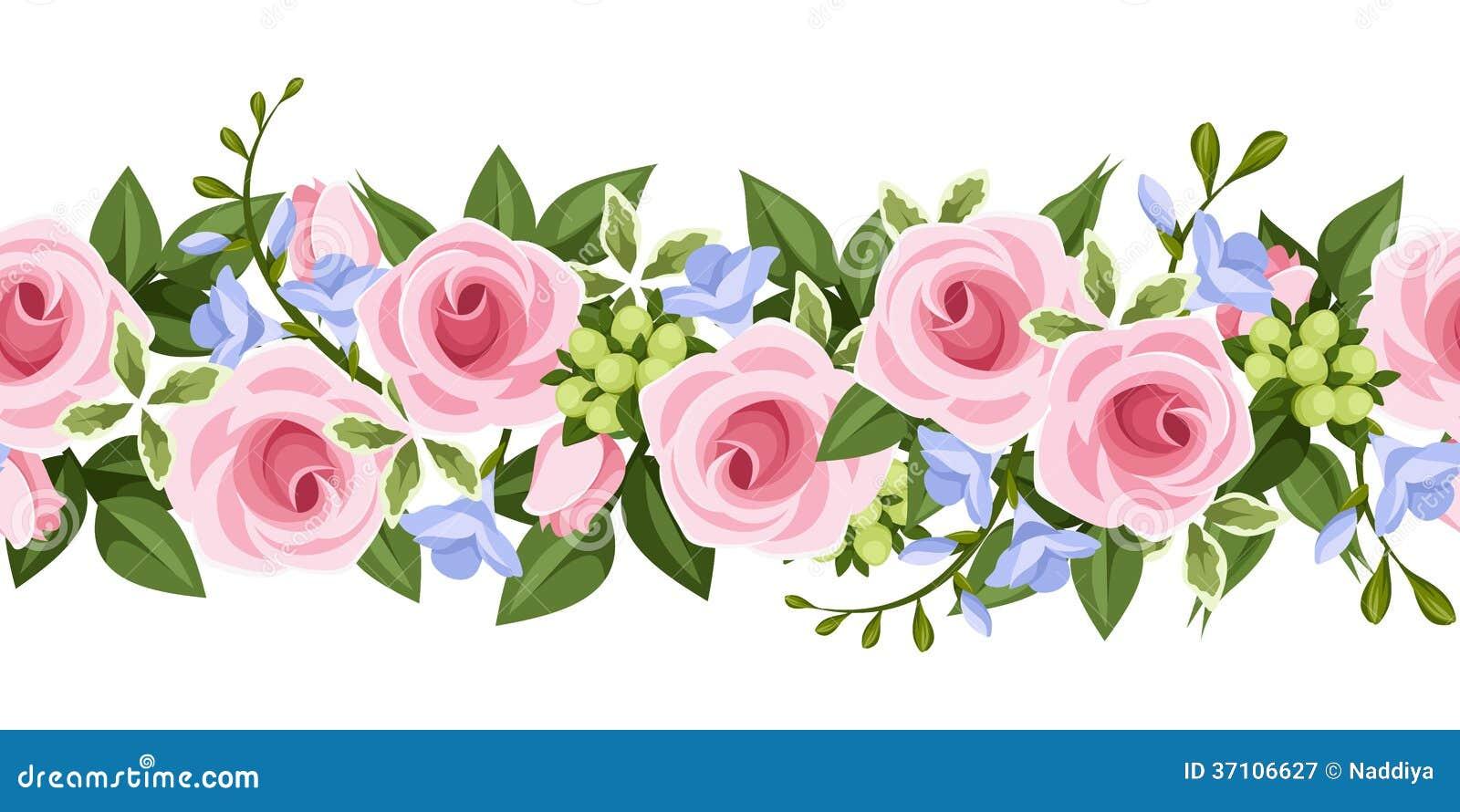 Flores Horizontales Dibujos Animados Patrón De Fondo: Horizontal Seamless Background With Roses And Free Royalty