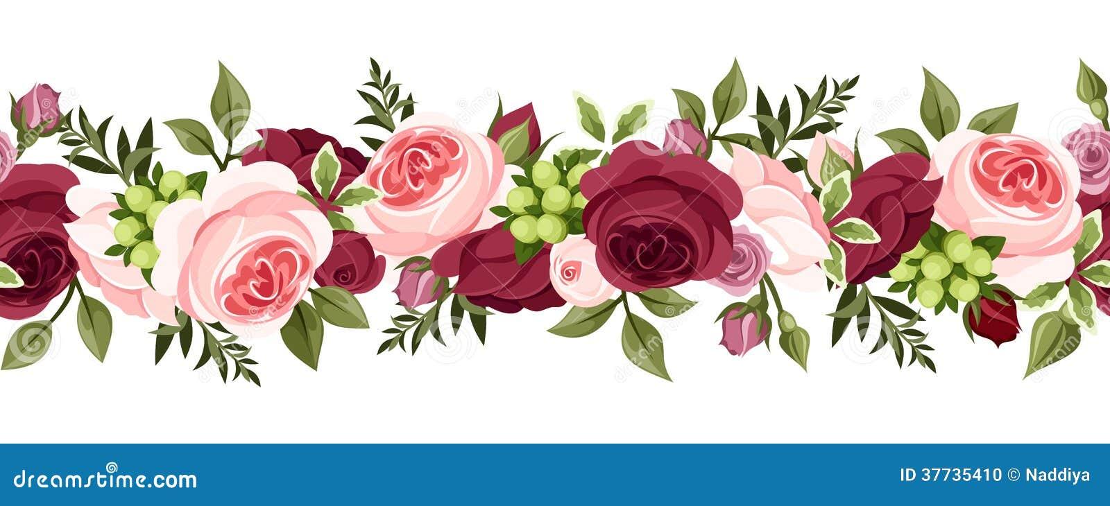 Flores Horizontales Dibujos Animados Patrón De Fondo: Horizontal Seamless Background With Roses. Stock Vector