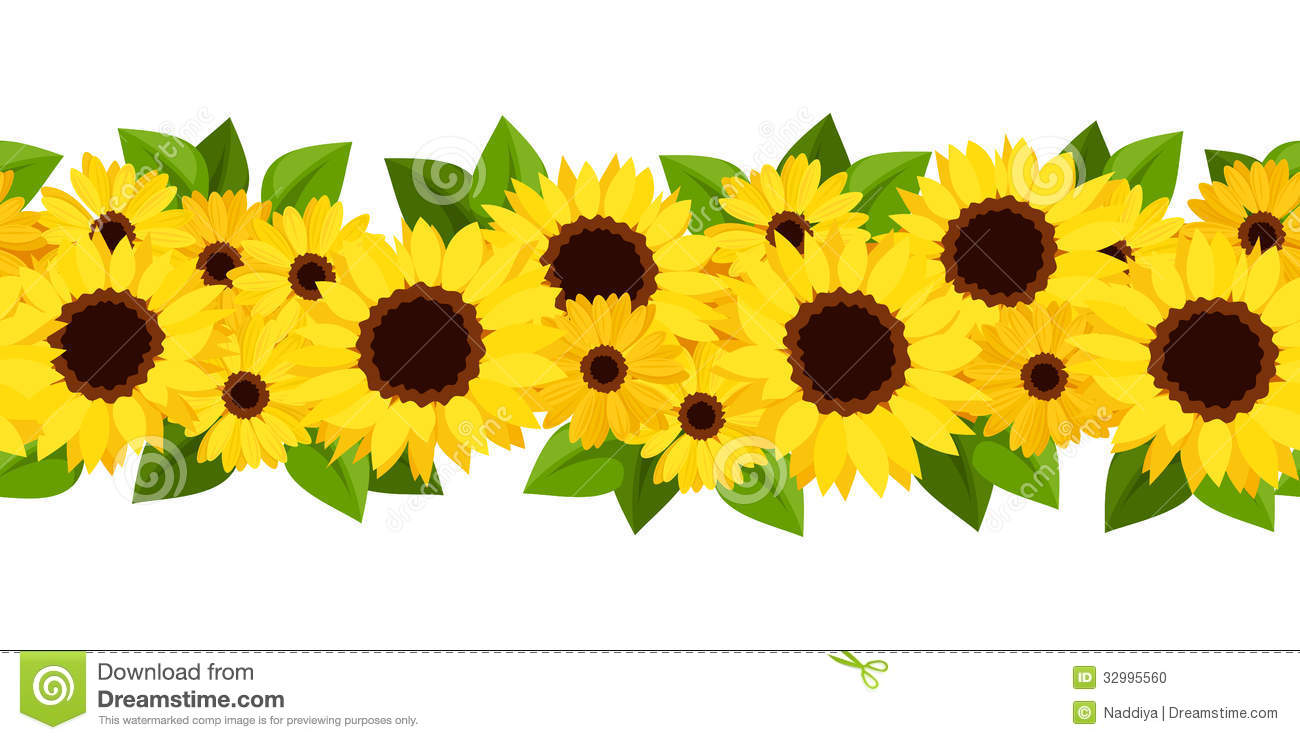 Horizontal Seamless Background With Sunflowers And Stock ...