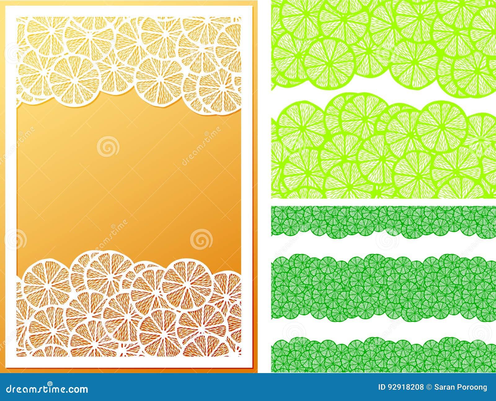 Horizontal seamless lemon slices pattern and frame