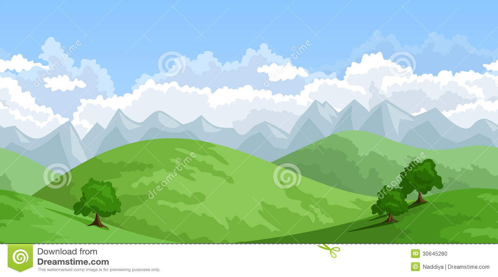 Landscape Illustration Vector Free: Vector Horizontal Seamless Summer Landscape. Stock Vector