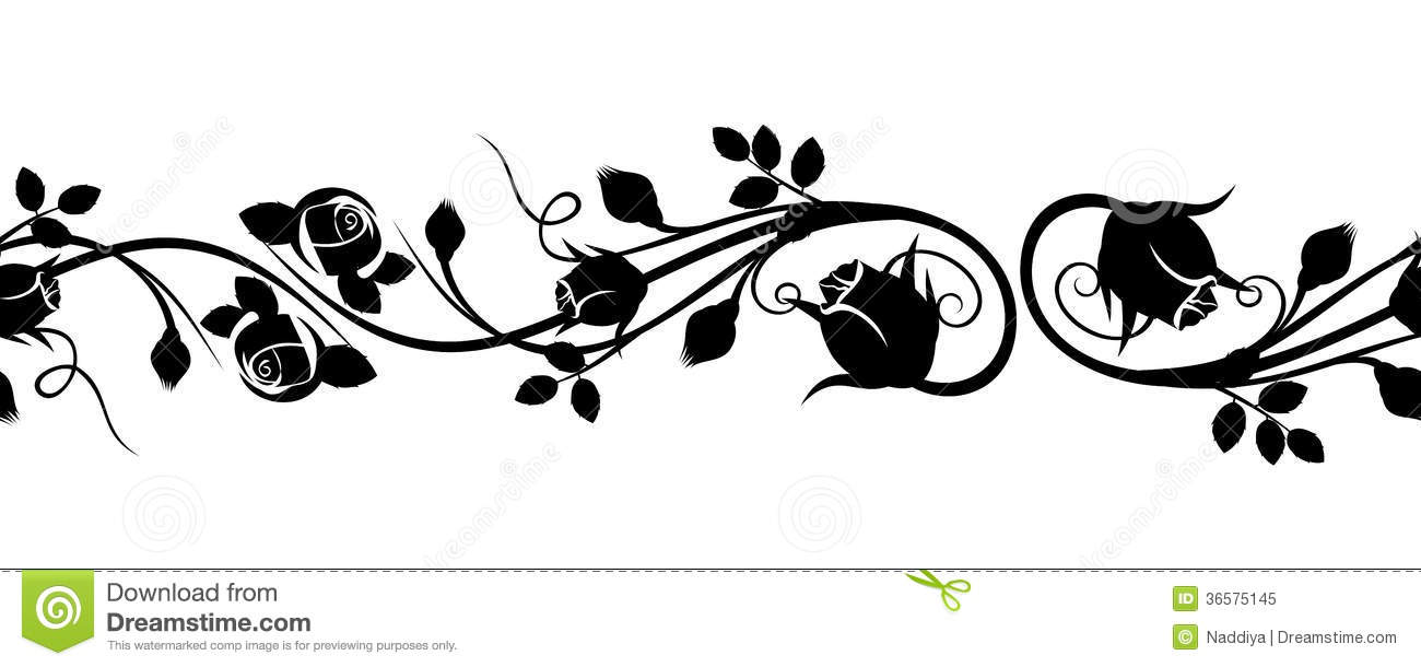 Horizontal Seamless Vignette With Rose Buds. Stock Vector ...