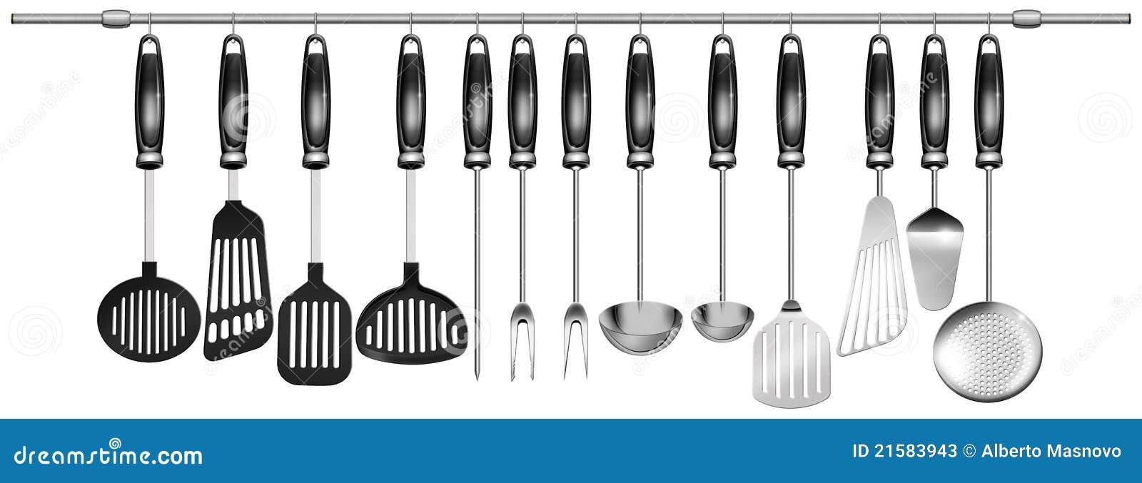 Horizontal Set Kitchen Utensils Stock Photos - Image: 21583943