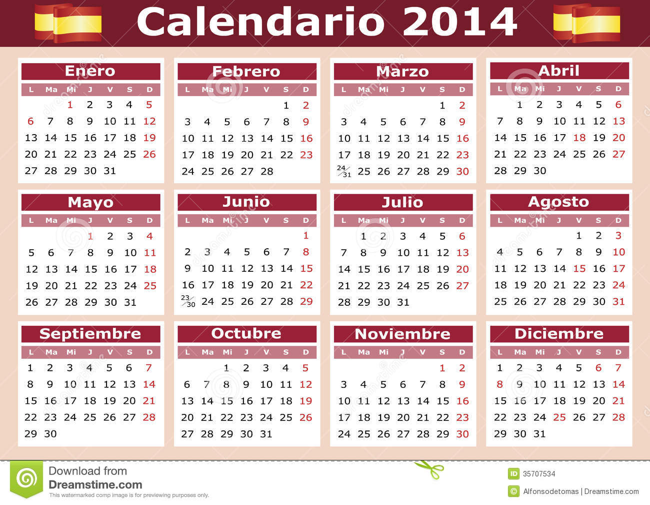 1300 x 1009 jpeg 198kB, 2014 horizontal vector calendar in Spanish ...