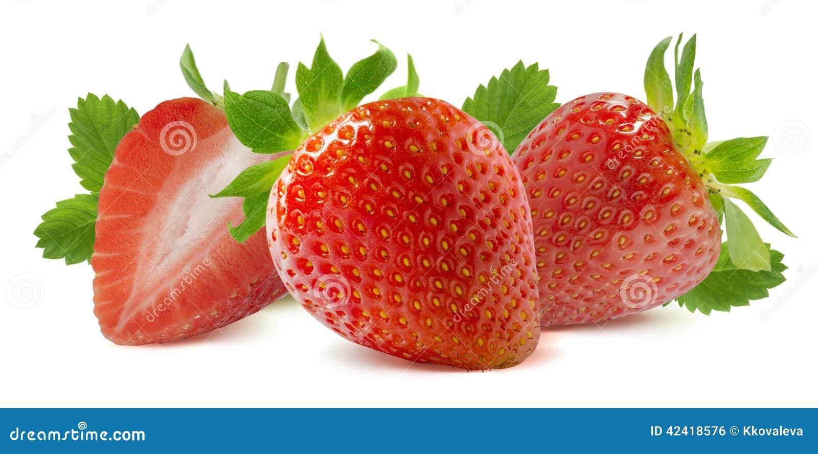 Horizontal strawberry composition isolated on white background