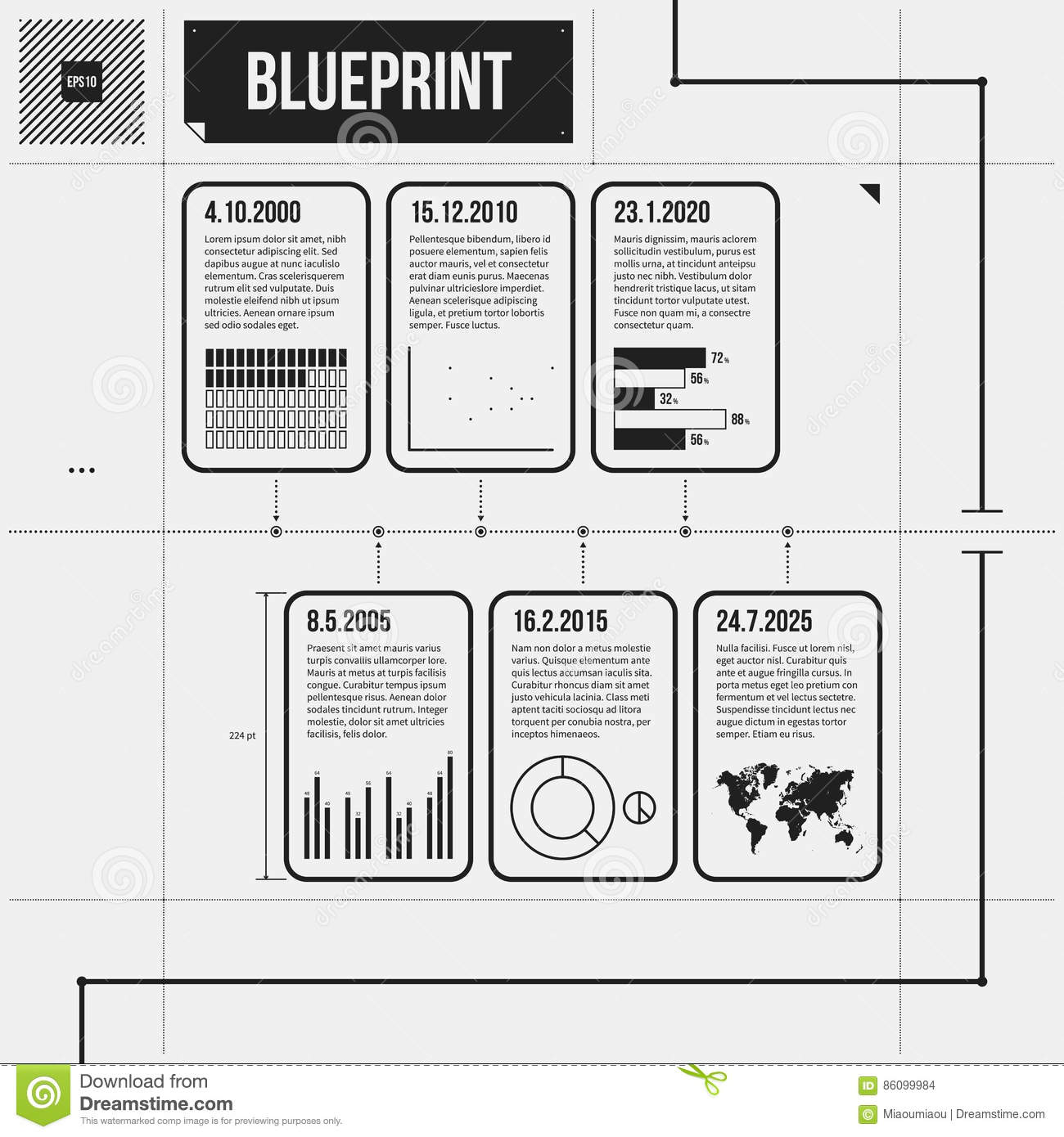 Horizontal Timeline Template With Infographic Elements In Draft