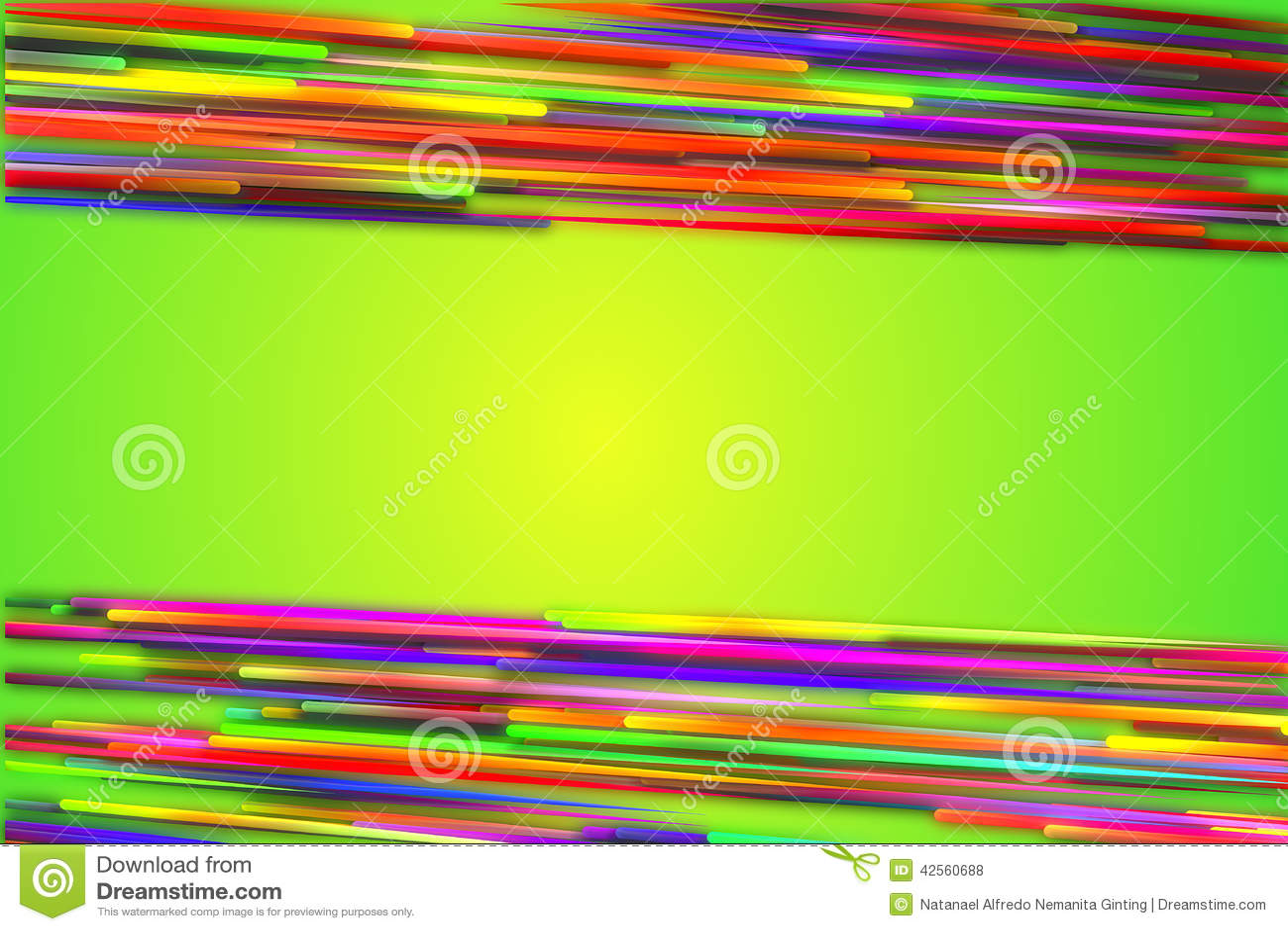 Horizontal Top Bottom Rainbow straight Line Glow Green Background