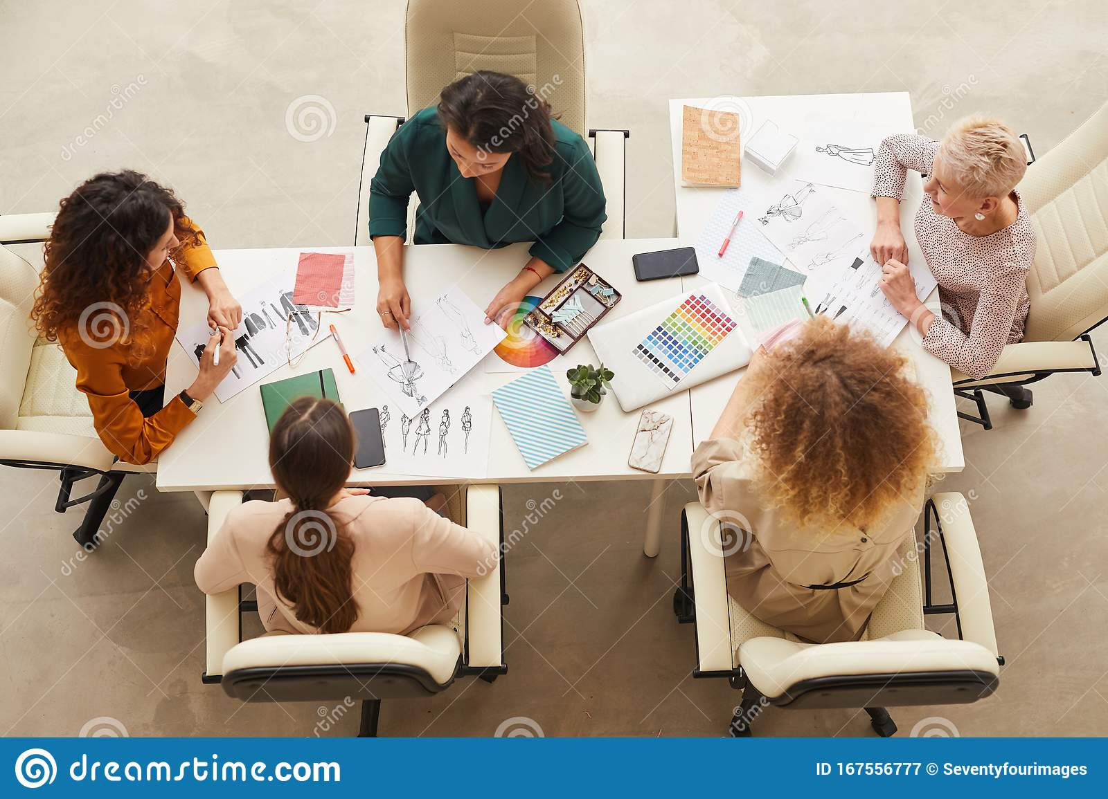 Team Of Fashion Designers Top Shot Stock Image Image Of Businesswoman Office 167556777