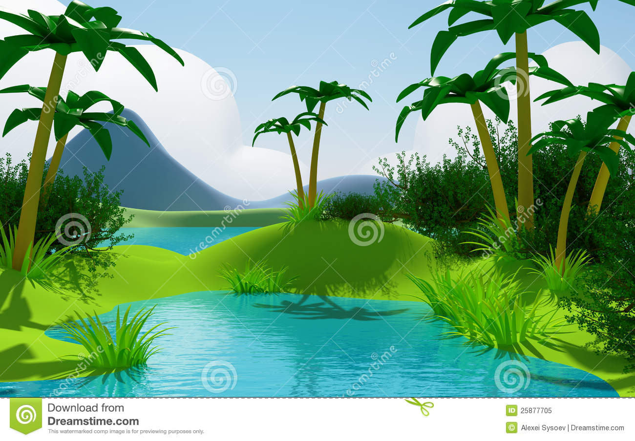 Horizontal tropical de jungle du dessin anim 3d photo - Dessin de jungle ...