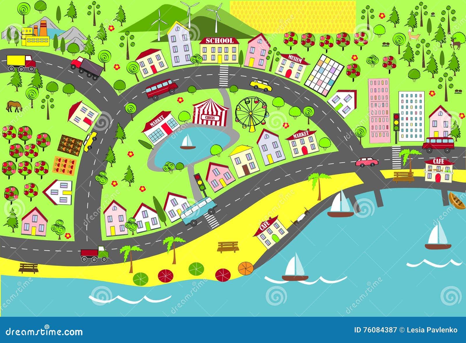 Horizontal urbain Tracez la conception pour des tapis, des livres, et le développement puéril