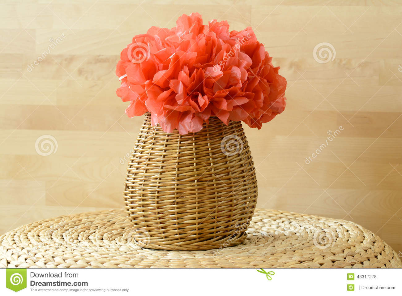 Horizontal Vase Basket With Red Tissue Paper Flowe Stock Photo