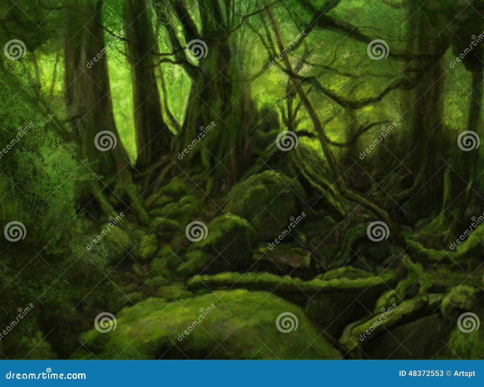 Horizontal vert de forêt