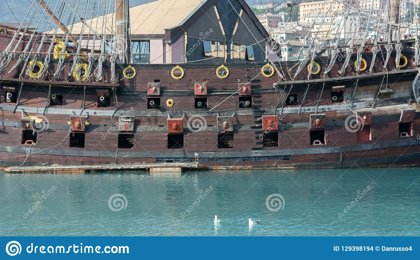 Horizontal View of the Starboard Side of an Ancient Pirate Galeon with the Hatches of the Cannons Open