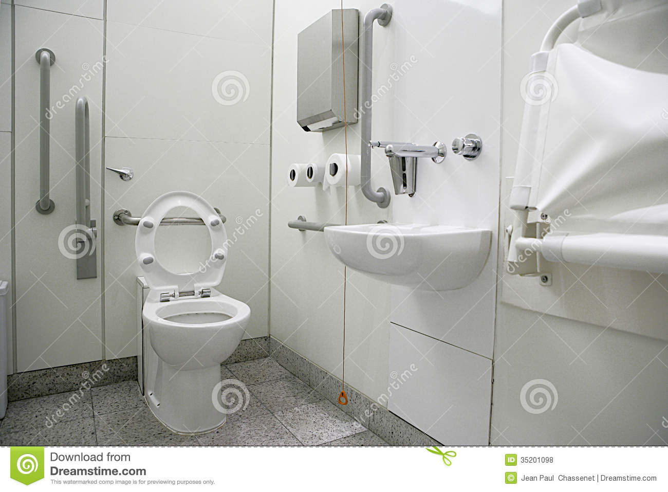 Horizontal View Of A Toilet Interior For Disabled Stock