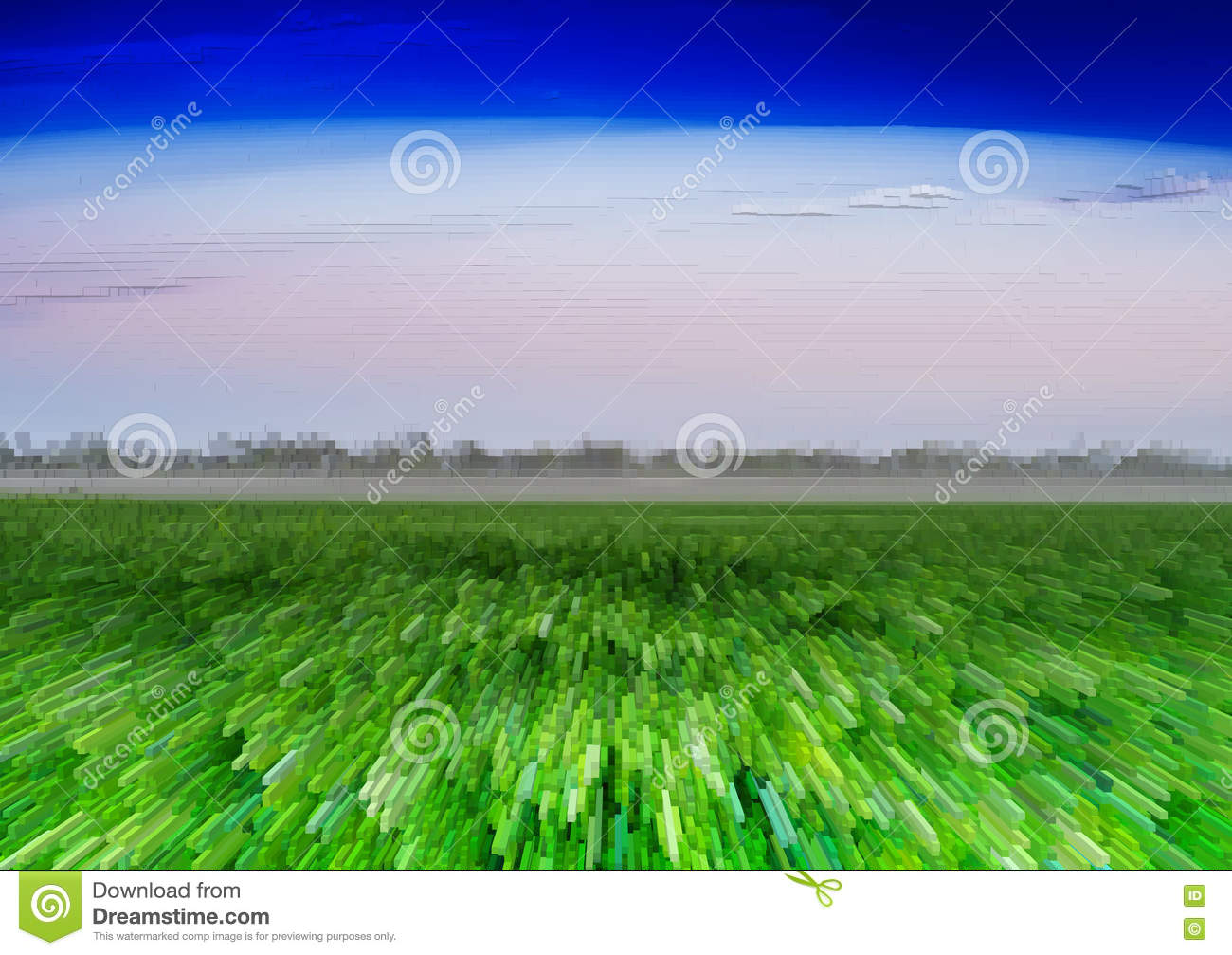Horizontal vivid green field 3d extruded cubes landscape backgro