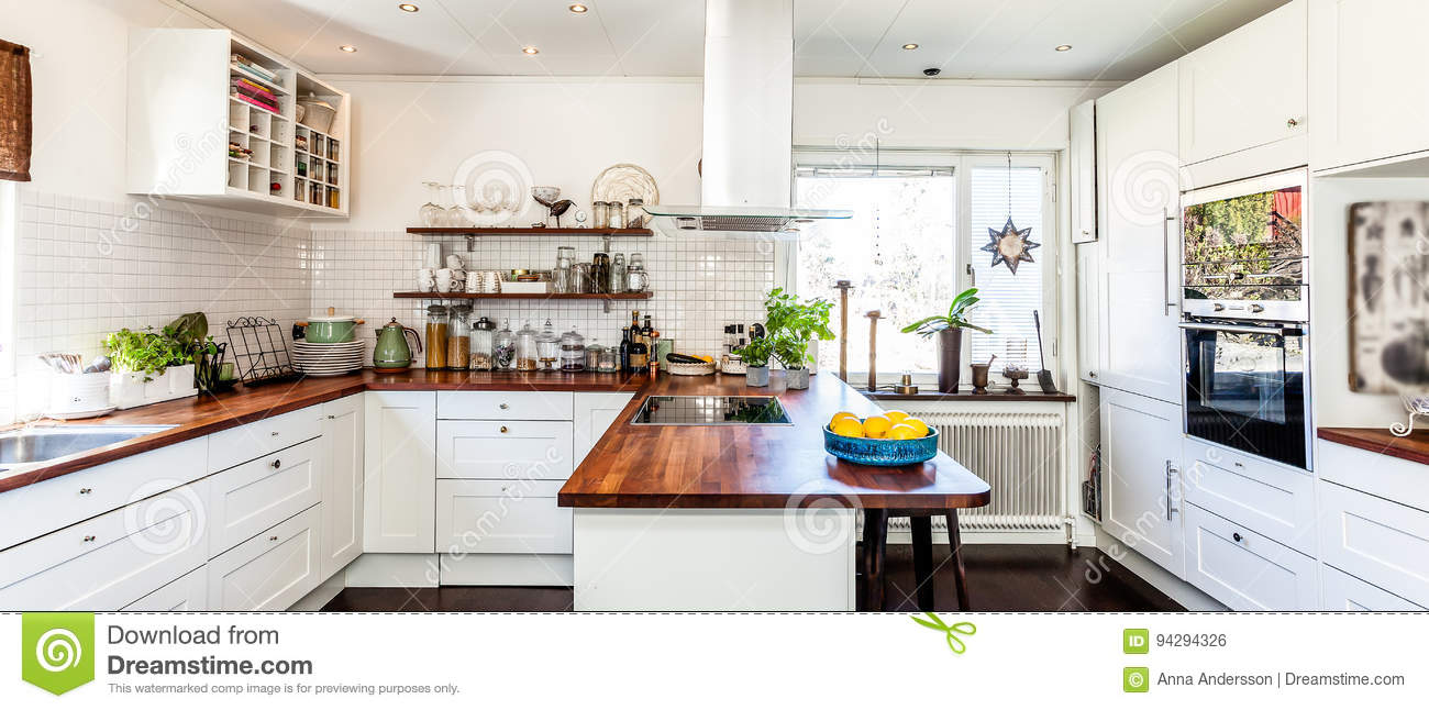 Horizontal Web Banner Of A Fancy Kitchen Interior Stock Photo