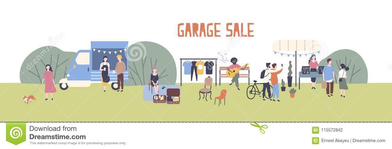 Horizontal web banner template for garage sale or outdoor festival with food van, men and women buying and selling goods