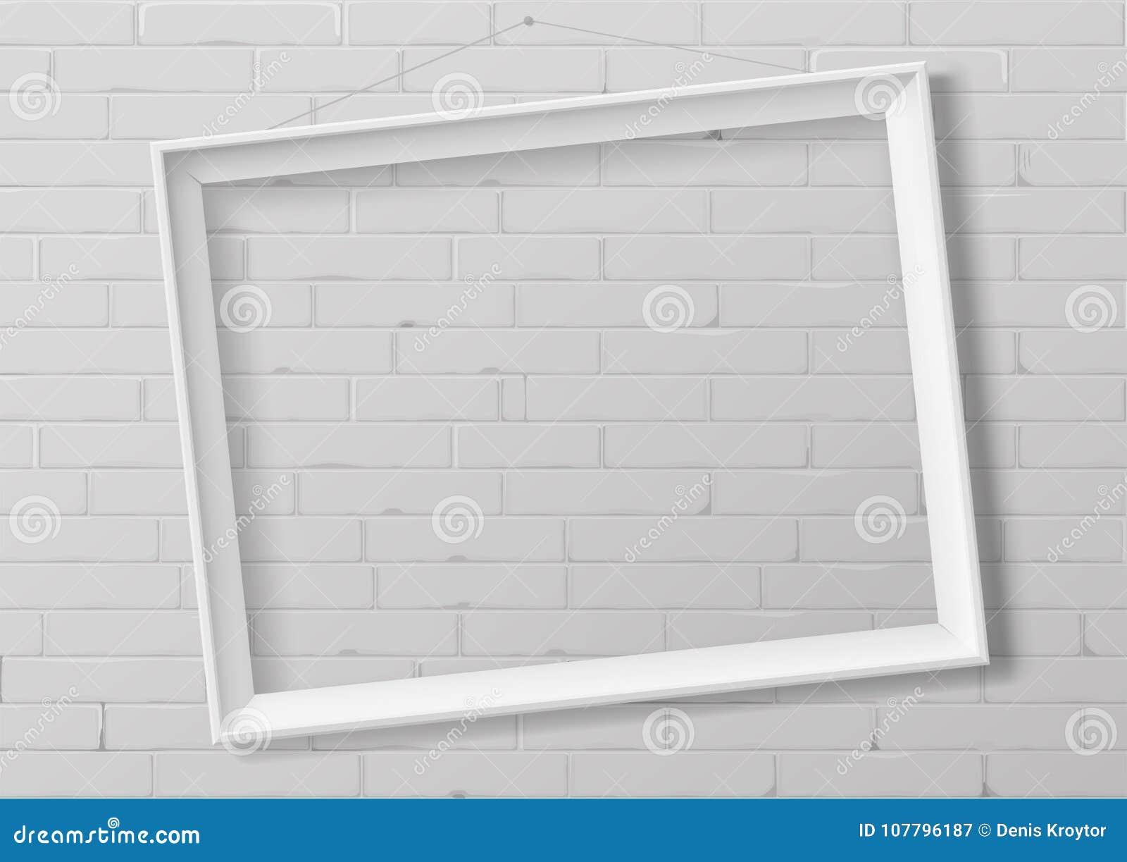 Horizontal White Empty Frame From Wood Stock Vector - Illustration ...