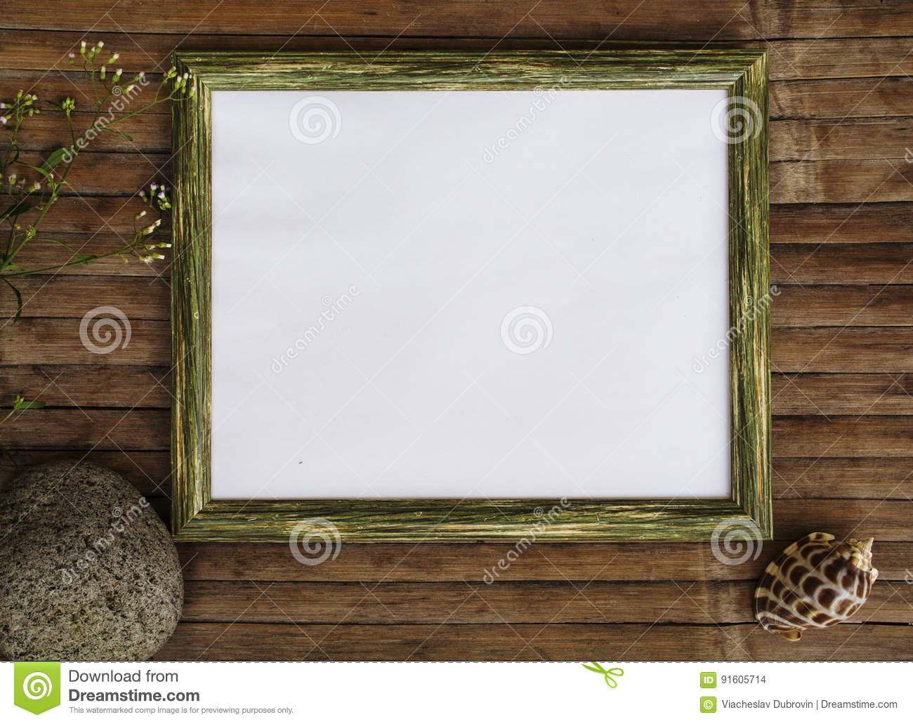 Horizontal Wooden Frame With White Page Photo Background. Shabby ...