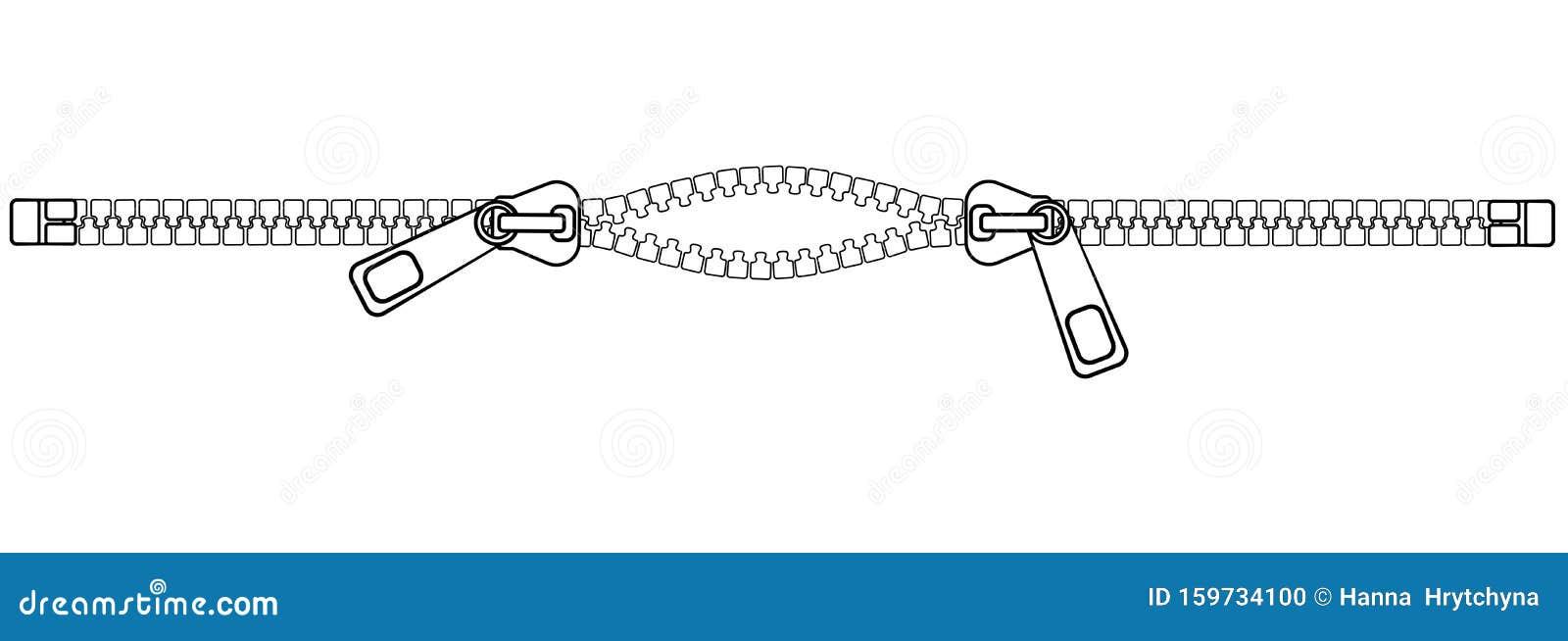 Horizontal Zipper With Two Sliders Slightly Ajar Half Open