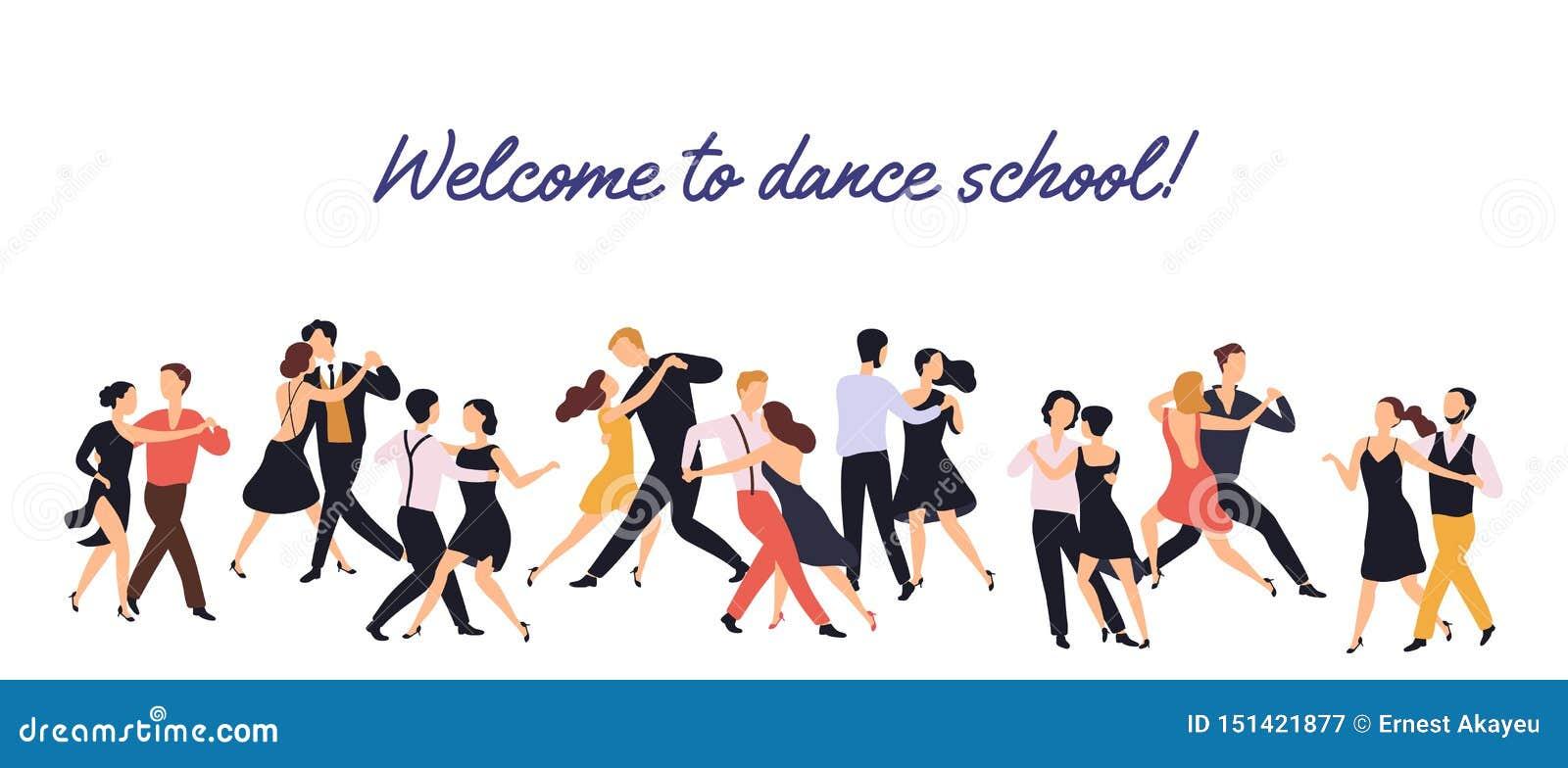 Horizontale banner of achtergrond met paren van elegante mannen en vrouwen het dansen tango op witte achtergrond Dansschool of