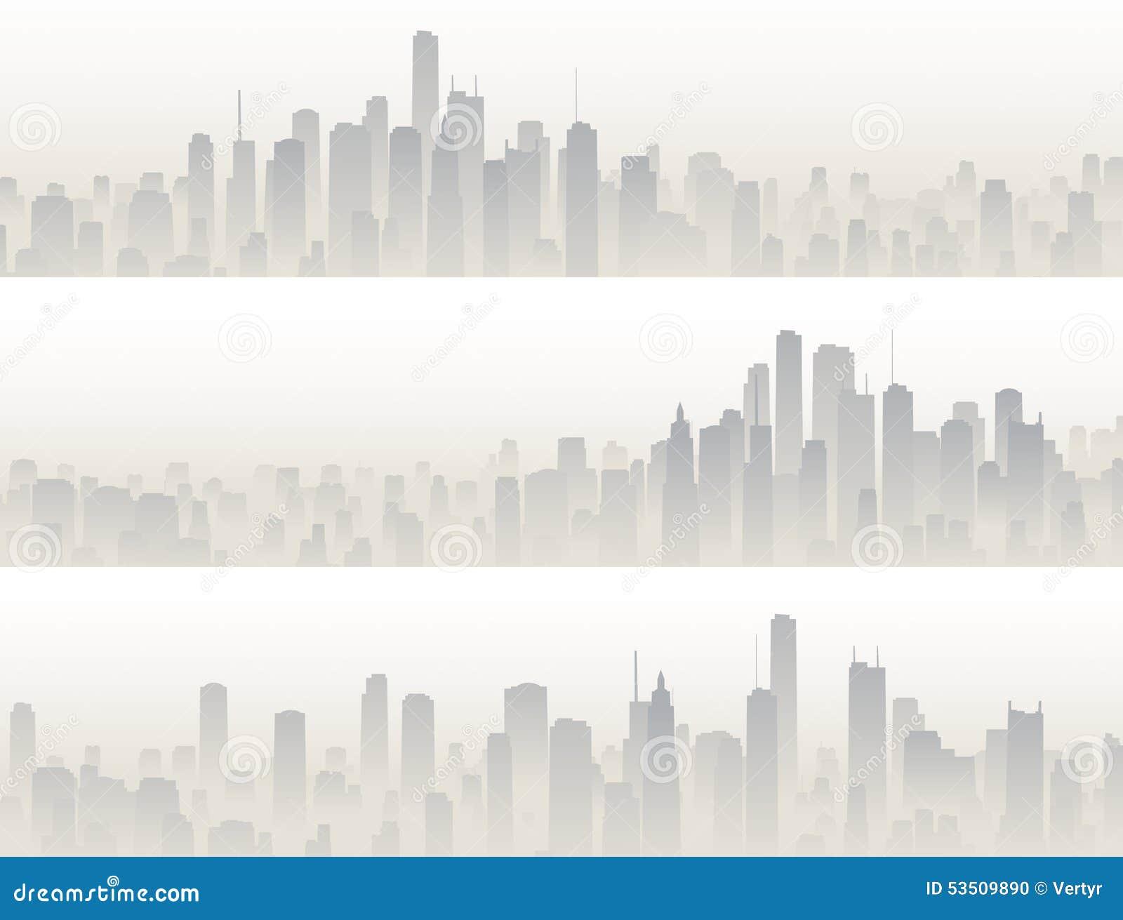 Horizontale banners van grote stad in nevel