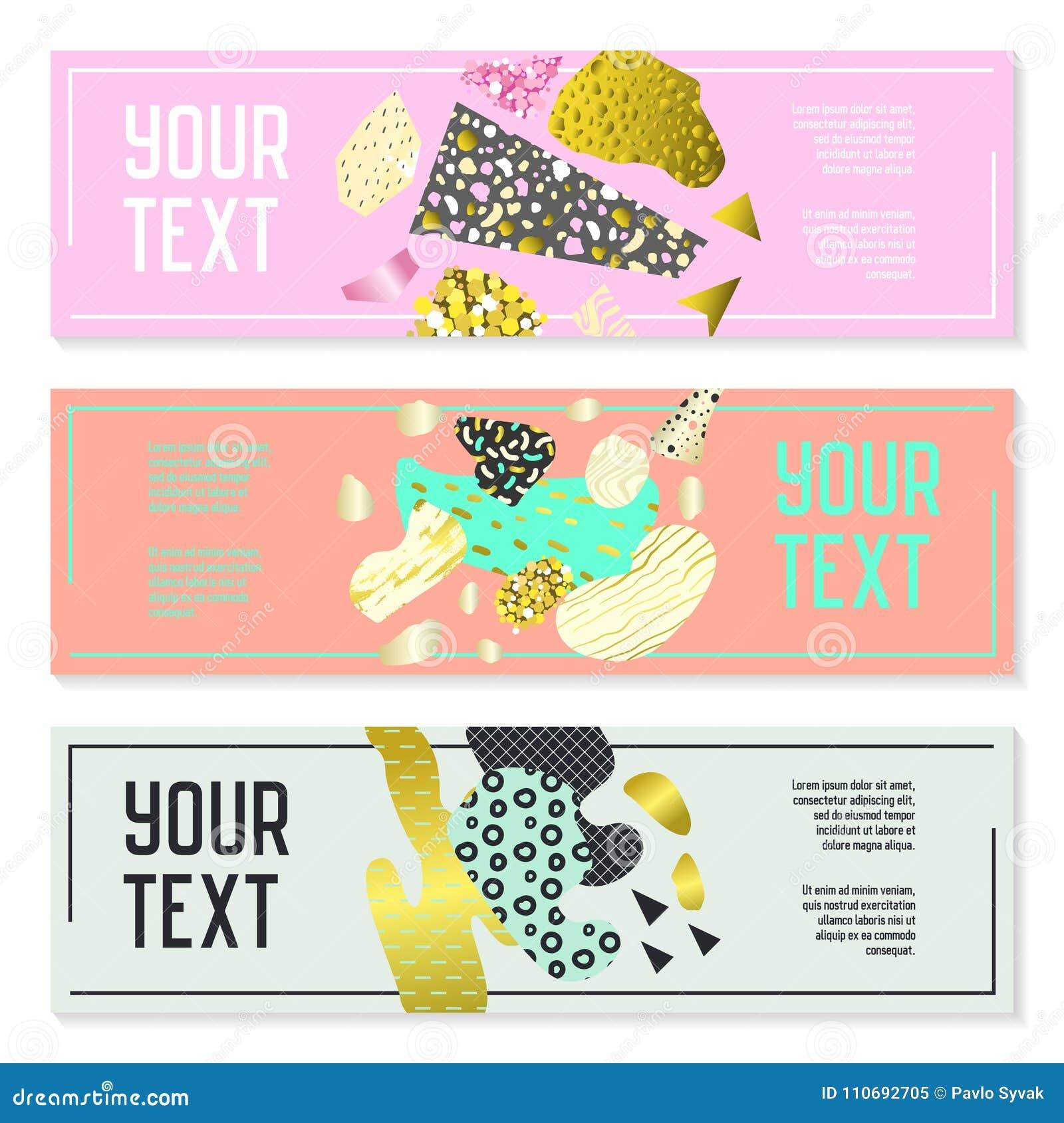 Horizontale Fahnen eingestellt mit Goldfunkeln-geometrischen Elementen Plakat-Einladungs-Beleg-Broschüren-Schablonen Abstrakte Ka